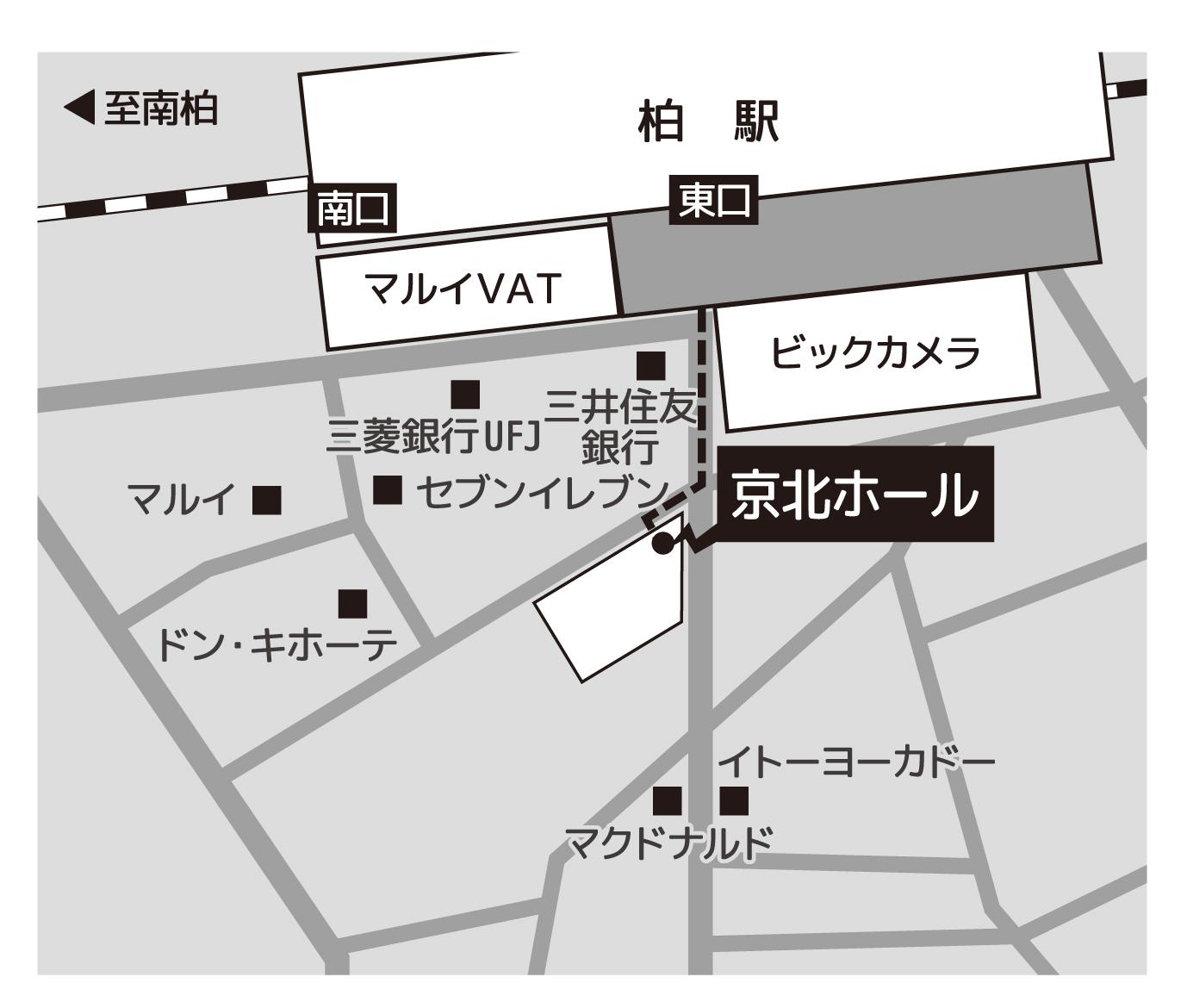 京北ホールの地図